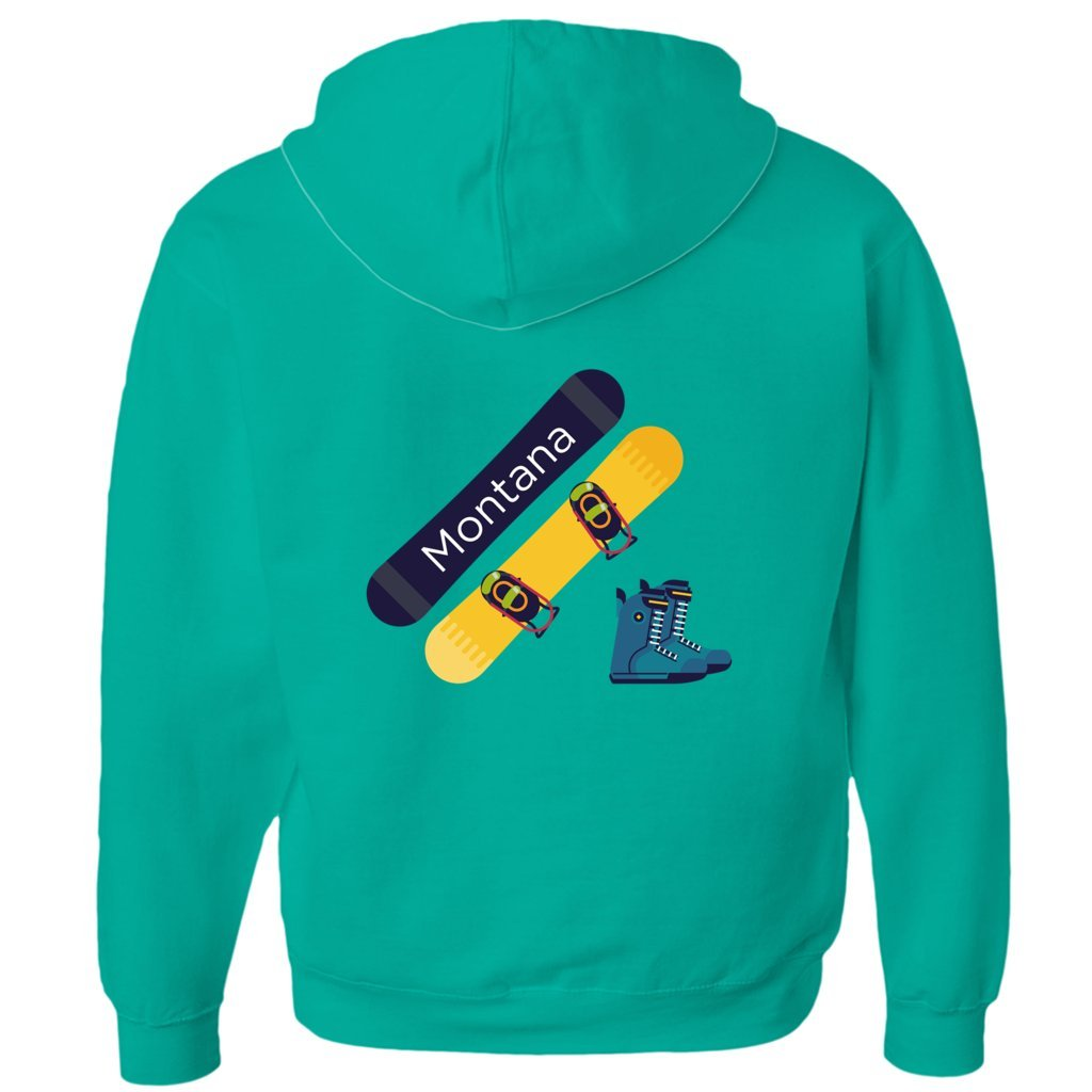 Tenn Street Goods Montana Snowboard and Boots - Unisex Fleece Full-Zip Hoodie (Kelly Green, Small)