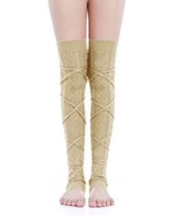 Kimberly's Knit Women Thigh High Tie Cable Knit Crochet Long Boot Leg Warmers