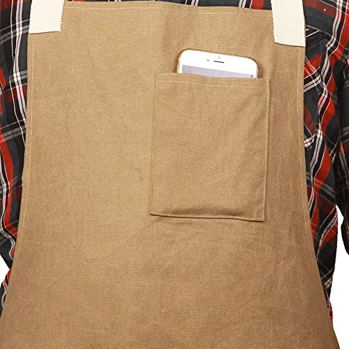 Waxed Canvas Work Safety Tool Apron Utility Garden Workwear Bib Waterproof Heavy Duty Multi-Use Shop Aprons with Six Pockets WQ03-1 by QEES (Image #3)