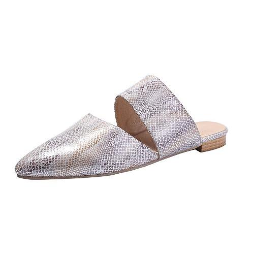 c8a3a37d830cc FASHIONMIA Women's Pointed Toe Flat Slide Sandals Summer Beach Leopard  Print Mules Shoes