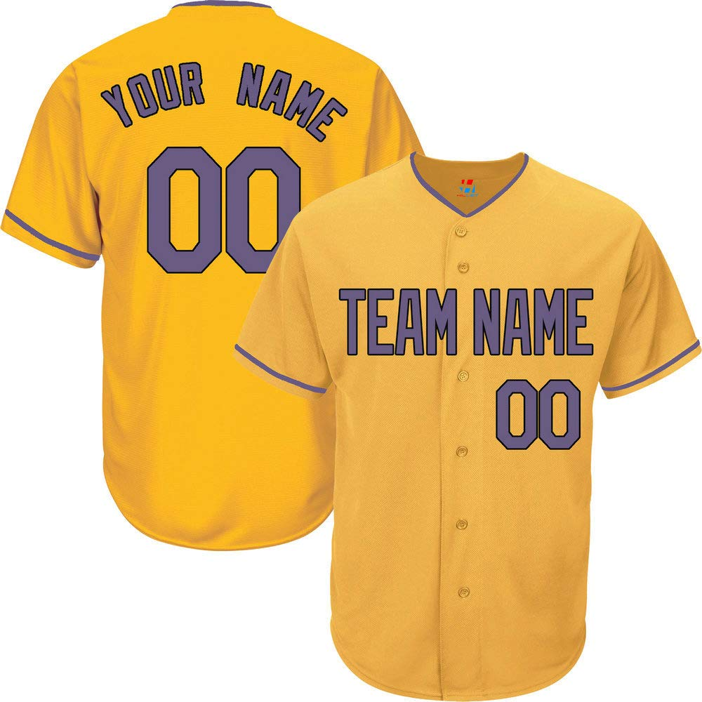Yellow Customized Baseball Jersey for Men Button Down Embroidered Team Player Name & Numbers,Purple-Black Size S