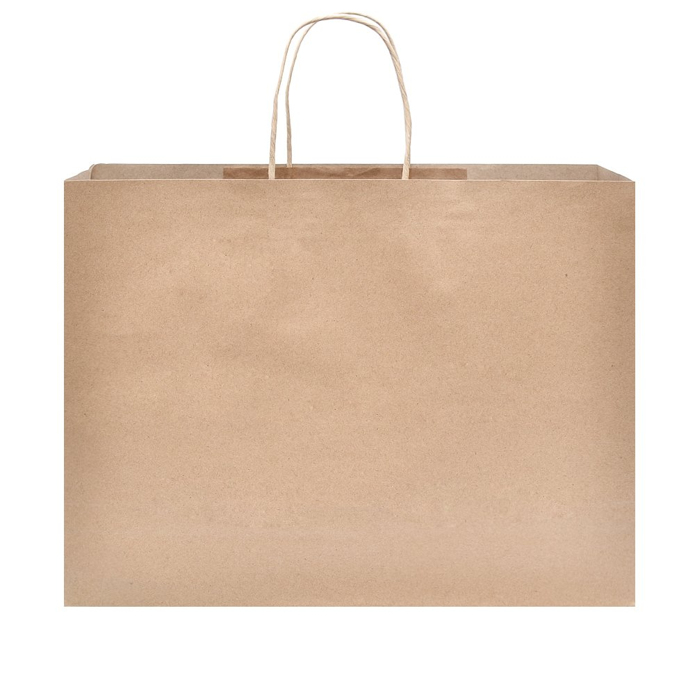 Halulu 250pcs 16x6x12 Brown Kraft Paper Gift Bag Shopping, Mechandise, Party Bags