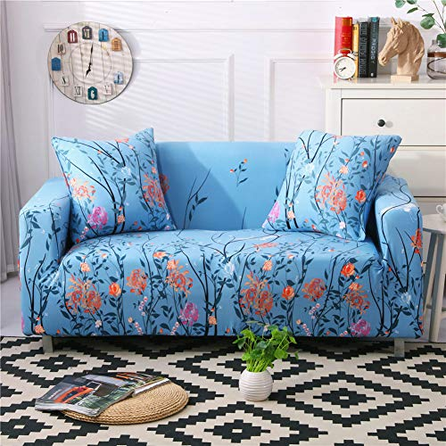 Stretch Sofa Slipcover Fitted Furniture Protector Print Sofa Cover Stylish Couch Cover with 2 Pillow Cases for Loveseats/Sofas/Sectional Couches,Happy Floral (Pillows Couch With For Slipcover)
