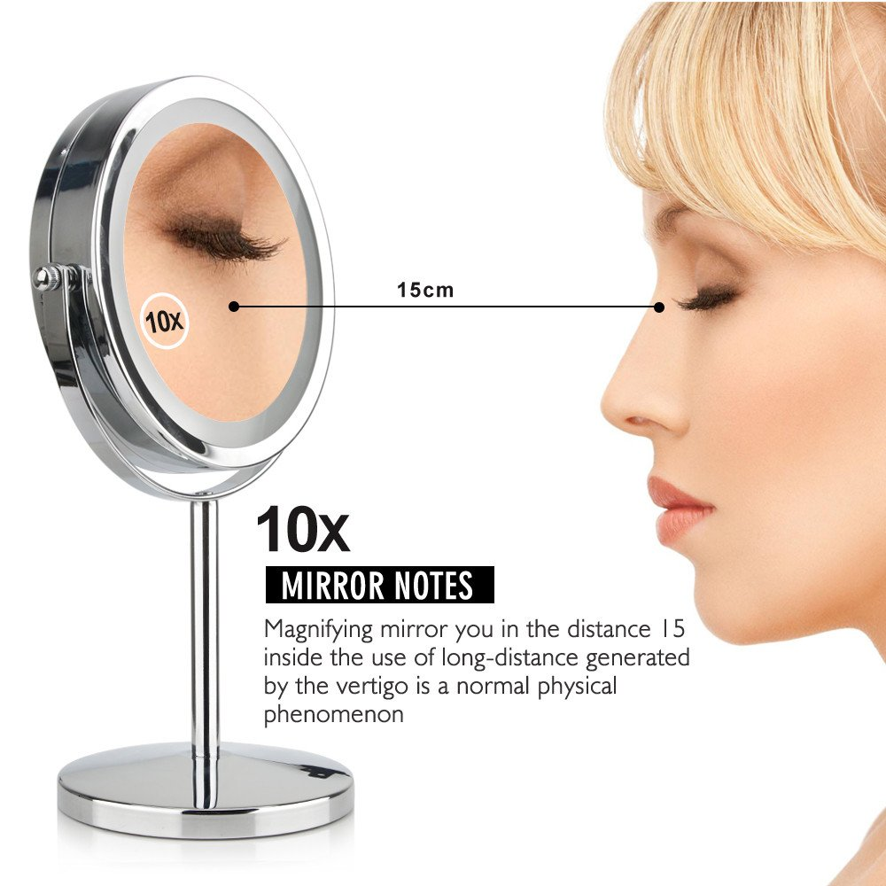 GF Wood 7 Inch 10X Magnification Circular Makeup Mirror Dual 2 Sided Round Shape 17 Leds Rotating Cosmetic Mirror Stand Magnifier Mirror by GF Wood (Image #3)