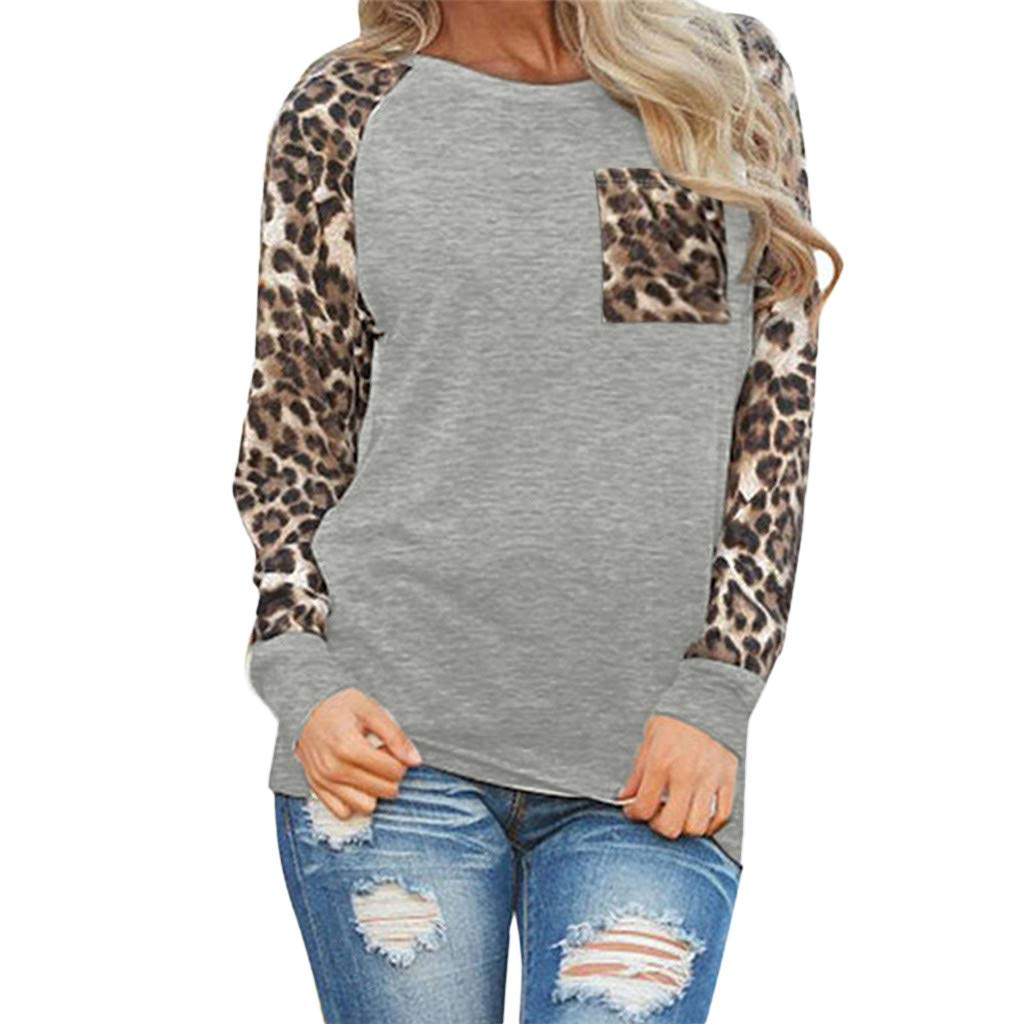Blouses for Womens, FORUU St. Patrick's Day Clover Ladies Sales 2018 Under 10 Valentine's Day Best Gift for Girlfriend Leopard Long Sleeve Fashion Ladies T-Shirt Oversize Tops