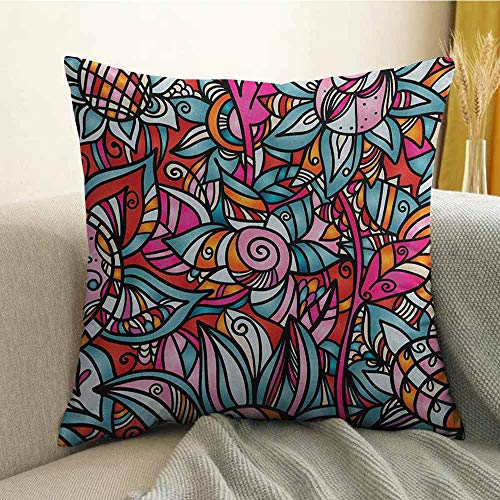 - FreeKite Abstract Silky Pillowcase Colorful Florals Sunflower Mosaic Curl Ornaments Stained Glass Inspired Design Super Soft and Luxurious Pillowcase W16 x L16 Inch Multicolor