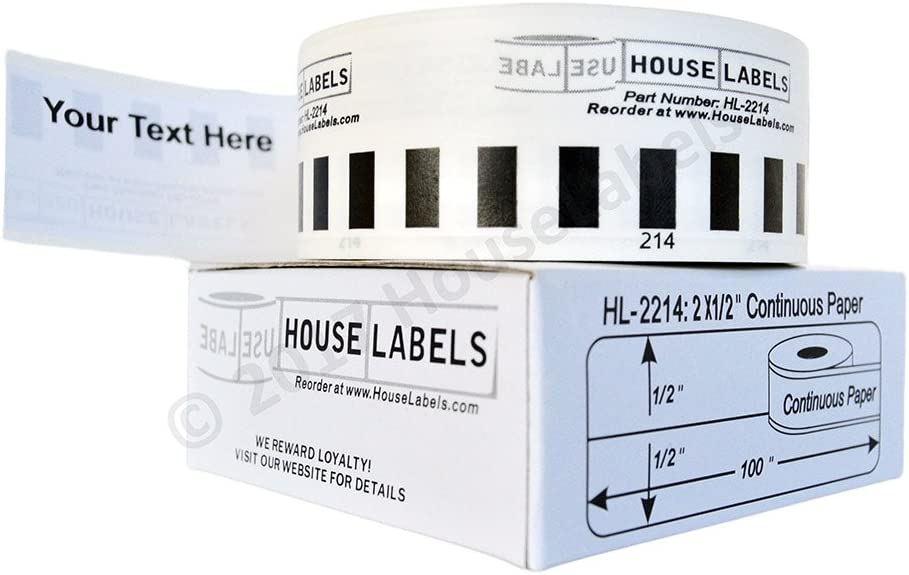2 - Including Two Reusable Black Cartridges 24 Rolls of HouseLabels Compatible with Brother DK-2214 Continuous Length Paper Tape 0.5 100; 12mm 30.48m BPA Free!