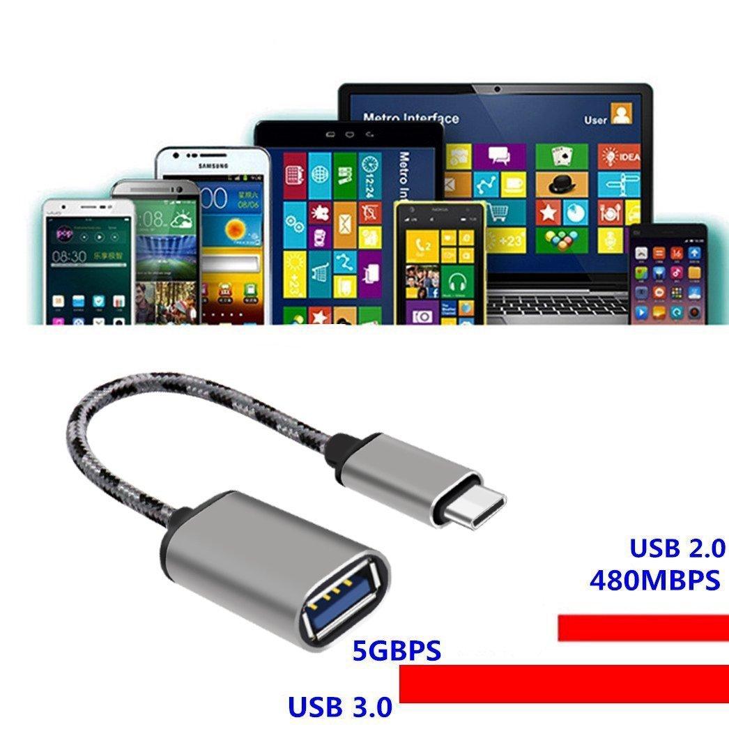 Adaptador USB C a USB Cable, Lucklystar® Adaptador Type C Macho a USB OTG Hembra Tipo C Cable de metal USB 3.1 a USB para Samsung S9 Plus S9 S8 Note 8, Huawei P20 P10 P9, OnePlus 6 5T 5 3T 3, Macbook Pro, Xiaomi Mix 2s Mi A1 Max 2, BQ Aquaris X X Pro, etc