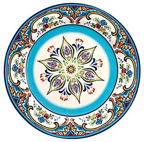 Floral Design Dinner Plate (Euro Ceramica Zanzibar Collection Vibrant 10.9