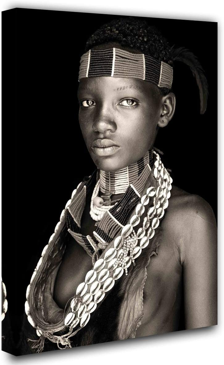 Native American Decor Black and White Pictures South African American Portrait Paintings 1 Piece Canvas Wall Art Modern Artwork Home Decor for Living Room Framed Stretched Ready to Hang(16''X24'')