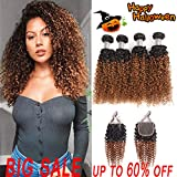 Black Friday deals iuling 2 Tone Ombre Kinky Curly 4 Bundles with Closure(20202020+16,1B/30) Wet and Wavy Ombre Brazilian Kinky Curly Human Hair weaves
