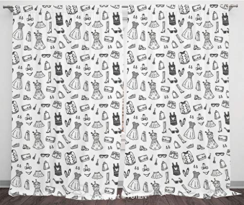 Satin Window Drapes Curtains [ Heels and Dresses,Female Fashion Themed Pattern Sketch Cartoon Style Doodle Garments Decorative,Black and White ] Window Curtain Window Drapes for Living Room Bedroom Do ()