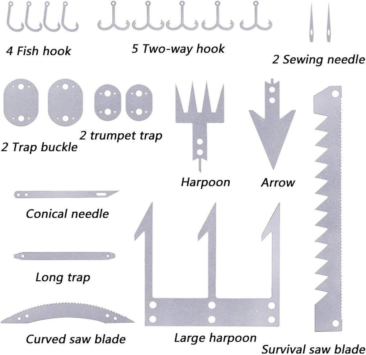 22 in 1 Wilderness Survival Card Fishhook Arrow Awl Needles Blades Multi-TooDD$N