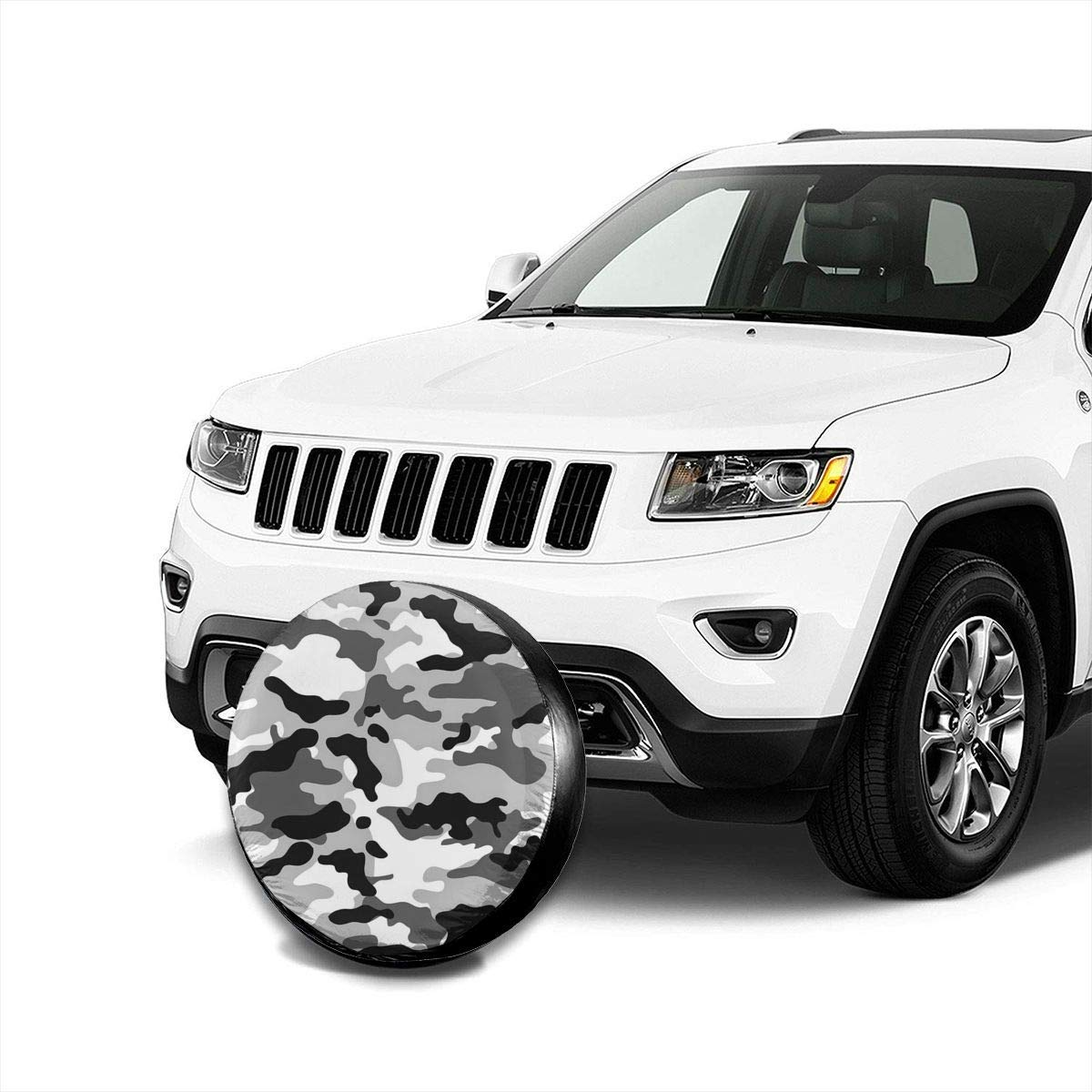 14,15,16,17 inch Black and White Camouflage Polyester Universal Spare Wheel Tire Cover Wheel Covers for Jeep Trailer RV SUV Truck Camper Travel Trailer Accessories Vbnbvn Housses de pneus