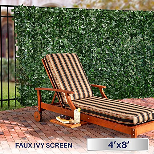 Windscreen4less Artificial Faux Ivy Leaf Decorative Fence Screen 4' x 8' Ivy Leaf Decorative Fence Screen (Lattice Cover Open Patio)