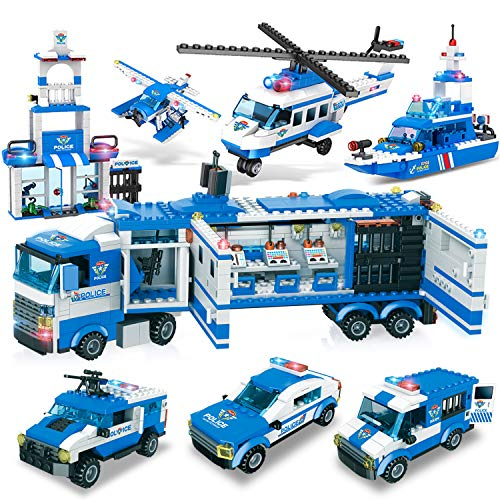 WishaLife 1115pcs City Police, City Station Building Sets, 8 in 1 Mobile Command Center Building Bricks Toy with Cop Car & Patrol Vehicles for Kids Gift with Storage Box