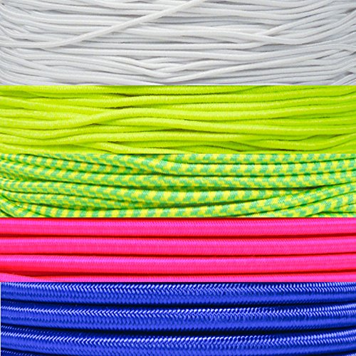 "Paracord Planet 2.5mm 1/32"", 1/16"", 3/16"", 5/16"", 1/8"", 3/8"", 5/8"", 1/4"", 1/2 inch Elastic Bungee Nylon Shock Cord Crafting Stretch String – Various Colors –10 25 50 & 100 Foot Lengths Made in USA"