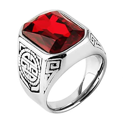 ba50e8385eede HZMAN Lunxury Engraved Stainless Steel Mens Ring Red Synthetic Ruby ...