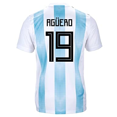 e5843b4673b66 adidas AGÜERO #19 Argentina Official Youth Home Soccer Jersey World Cup  Russia 2018 (YXL