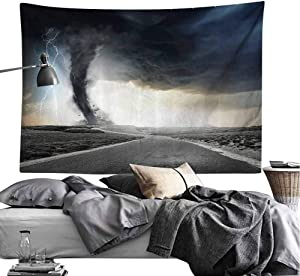 Lake House Decor Tapestry Black Tornado Funnel Gas and Lightning Rolling on The Road Fume Disaster Monochrome Print Hippie Tapestry W90 x L59 Grey