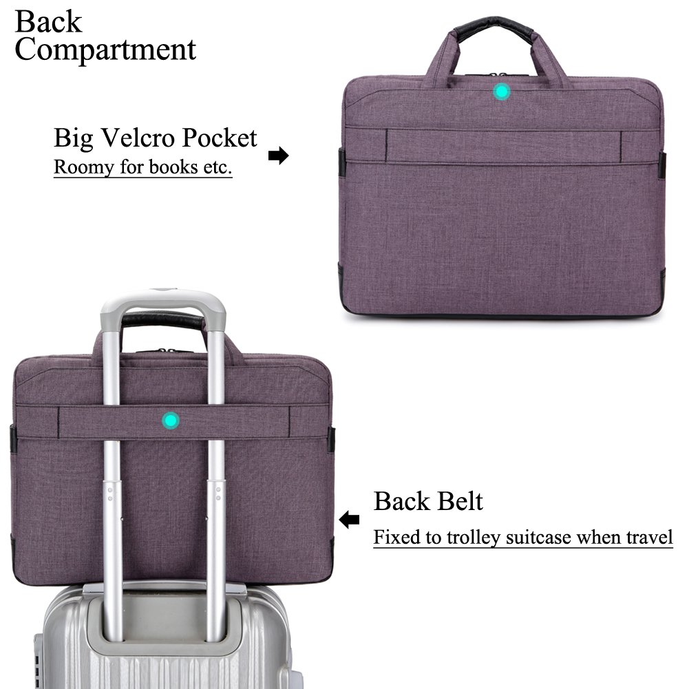 BRINCH 17.3 Inch Nylon Shockproof Carry Laptop Case Messenger Bag For 17-17.3 Inch Laptop/Notebook/MacBook/Ultrabook/Chromebook with Shoulder Strap Handles and Pockets (Dark Purple) by BRINCH (Image #5)