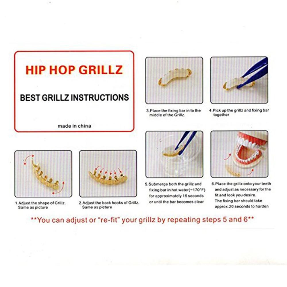 KOBWA Placcato Oro Grillz per Bocca a Bocca Hip Hop griglia Superiore e Inferiore Set Perfetto per Photoshoot Music Video e Tutti i Giorni Silver1 Denti Hip Hop Griglie per Denti