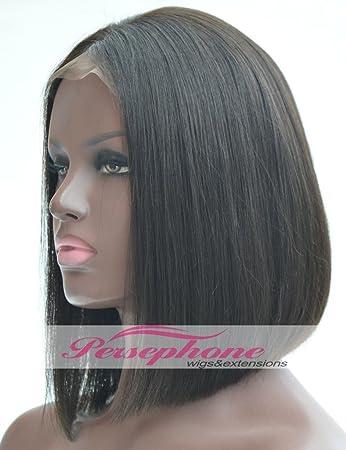 Amazon.com : Srt Bob Cut Human Hair Wigs Middle Part Glueless ...