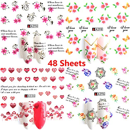 Nail Stickers Decals Nail Wraps Fingernail Decorations 48 Sheets Water Transfer Nail Stickers for Women Heart Rose Flower Butterfly Design Manicure Kit DIY Nail Art Supplies Accessories]()