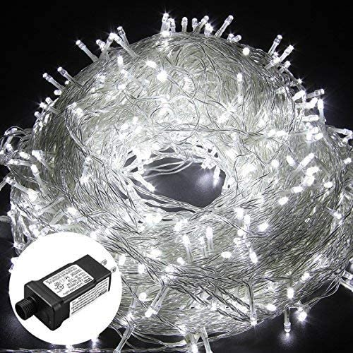 HIKENRI Outdoor Christmas led String Lights 500 LEDs 100M 328FT Dimmable Lights String Fairy Lights Transparent String 8 Modes for Bedroom Patio Garden Gate Yard Party Wedding Decoration Cool White