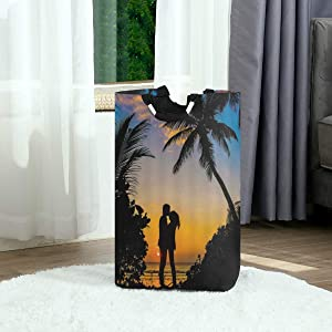 DAOPUDA Laundry Bag Lover Theme Valentine Close Hug Kiss Silhouette Summer Vacation Beach Palm Large Laundry Hamper Bags for Heavy-Duty Use with Strap,Standing Clothes Basket for Dorm Bathroom