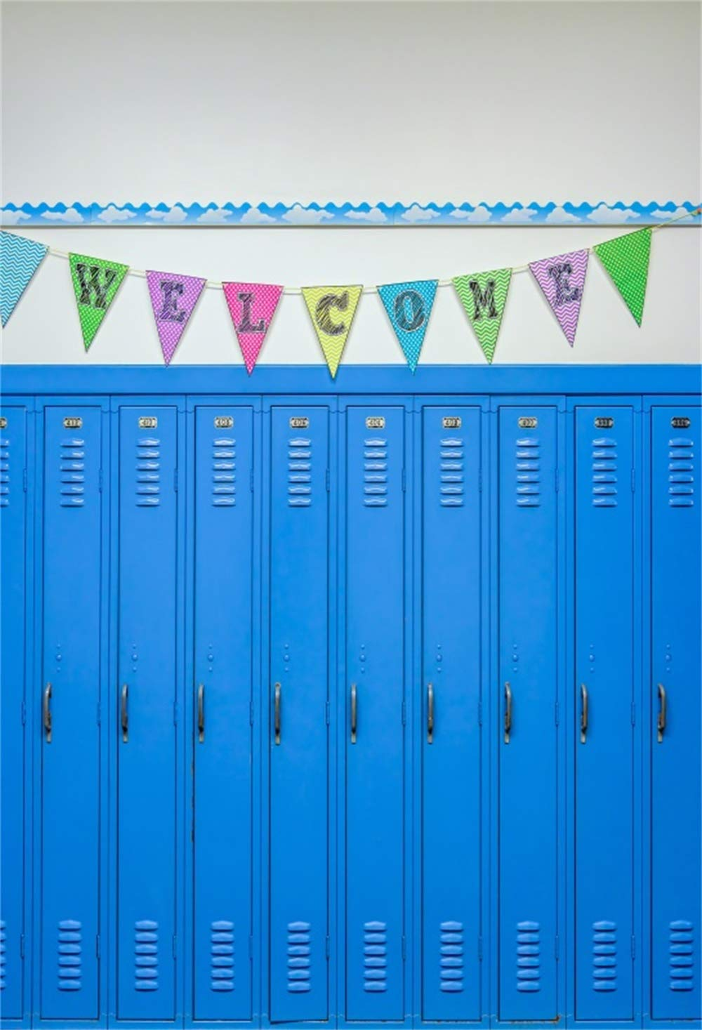 Leowefowa 8x10ft Back to School Backdrop Vinyl Colorful Welcome Buntings Blue Padlocked Lockers Photography Background Senior High School Students New Semester Shoot First Day of School Banner