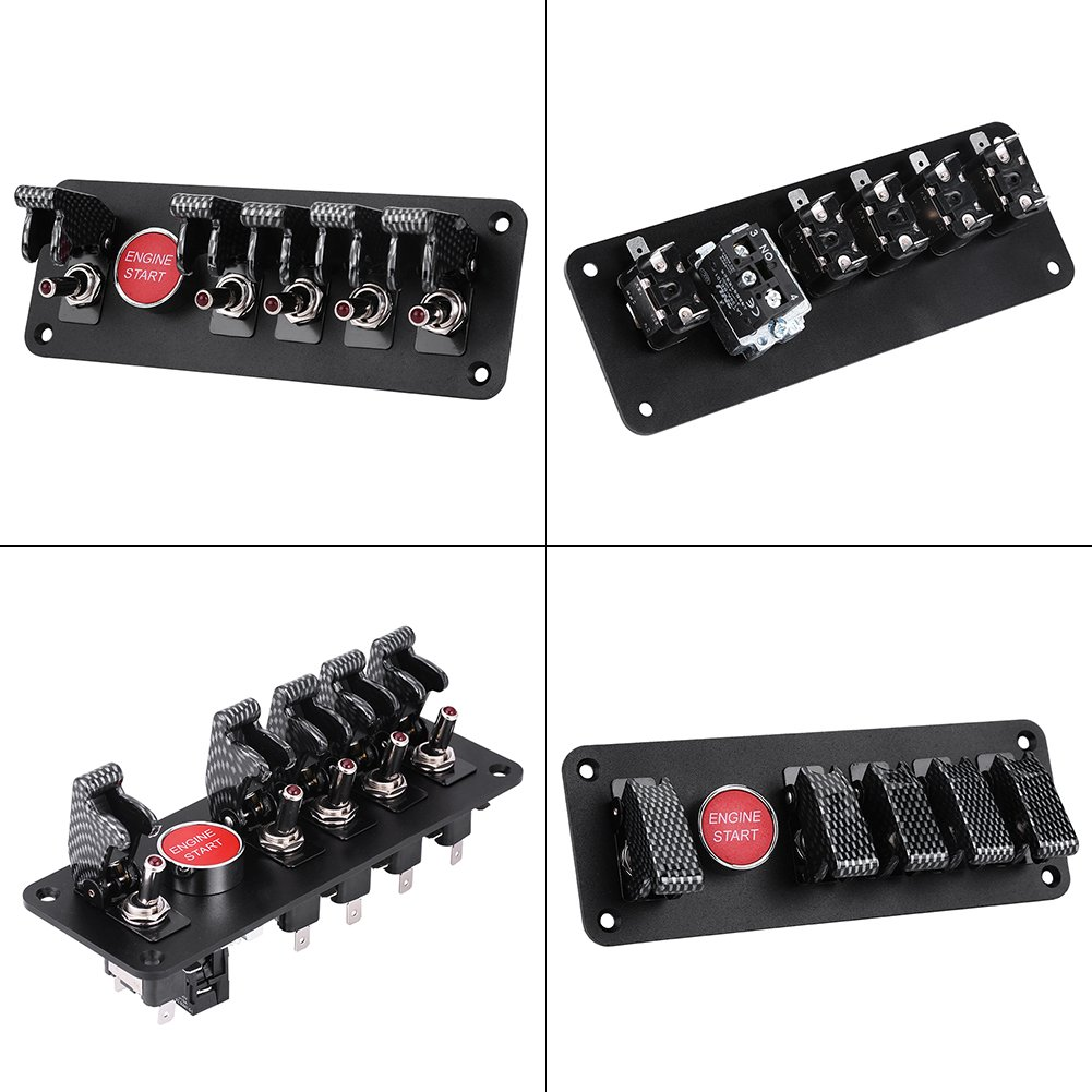 negro Qiilu 12V 40A 6 Grupo Interruptor de encendido Panel de arranque del motor Bot/ón de encendido para Carreras Coche RV Barco