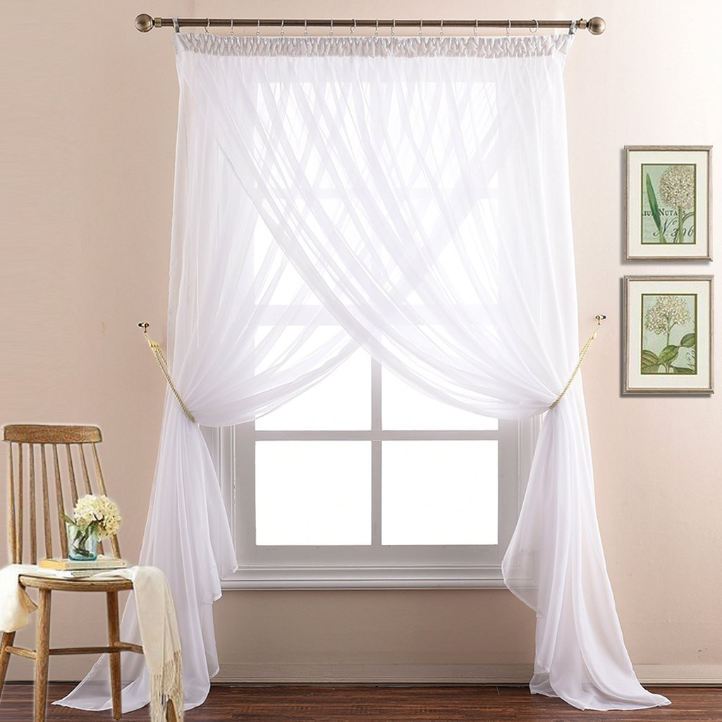 NICETOWN White 2 Layers Sheer Curtain Home Decor Pencil Pleat Window Treatment Voile Draperies for Bedroom, Rope Tiebacks & Drapes Hooks & Sliding Eyelet Rings (110 inches Wide by 95 inches Long)