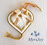 Mosaic tile kit DIY Yellow Heart 6''x6'' - Arts and Crafts for adults - Original and Unique gift for crafters - High quality Italian marble mosaic tiles - Mosaic supplies
