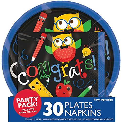 Border Apple Chalkboard - Elementary Graduation Party School Owl and Friends Round Plates and Napkins Value Pack Party Tableware, Multi-colored, Paper, Pack of 30 Plates and 30 Napkins