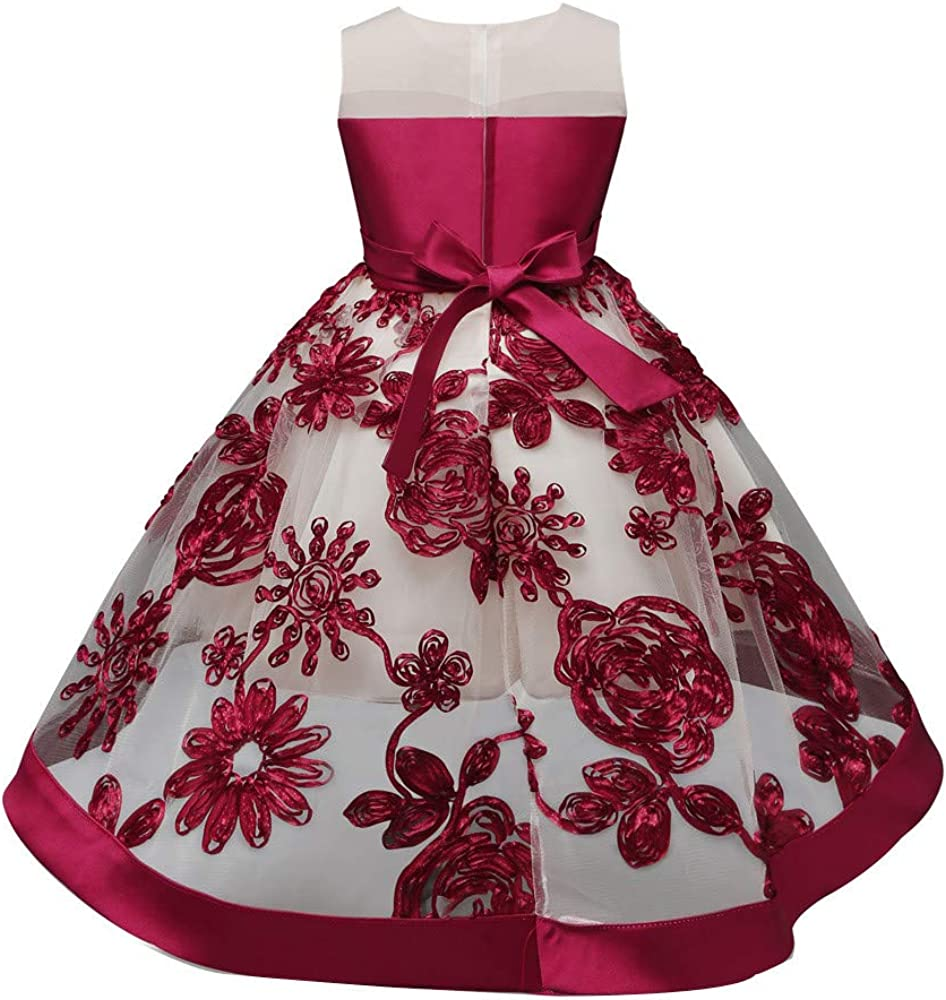 AMSKY❤ Lamaze Baby Clothes,Bowknot Kids Girl Dress Princess Embroidery Pageant Gown Party Bridesmaid Dress