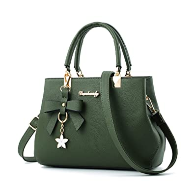 41f46393b Amazon.com: Fantastic Zone Women Handbags Fashion Handbags for Women PU  Leather Shoulder Bags Messenger Tote Bags Army Green: Shoes