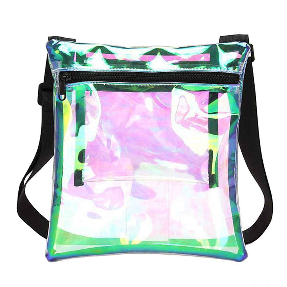 Concerts NFL /& PGA Stadium Approved Clear Crossbody Purse Bag Clear Stadium Bag with Adjustable Shoulder Strap /& Extra Inside Pocket for Sports Work Auony Holographic Clear Purse