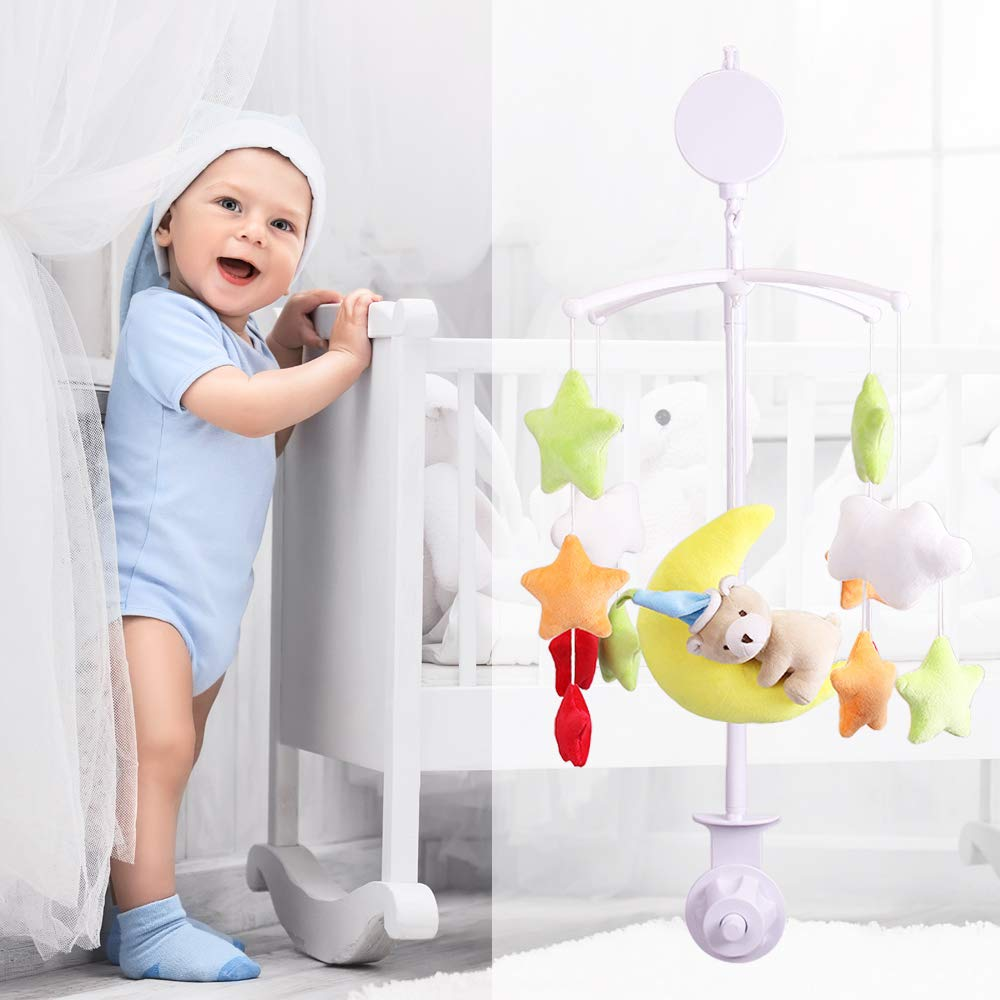 AFUNTA 26 Inch Baby Crib Mobile Bed Bell Holder Music Box Holder Toy Decoration Hanging Arm Bracket Baby Bed Stent Set Nut Screw