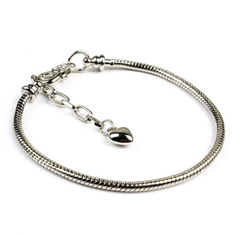Yeshan 5pcs Silver Plated Snake Chain Charm Bracelet Starter with Classic Bead Lobster Clasp Fits All Chamilia Troll Biagi Beads