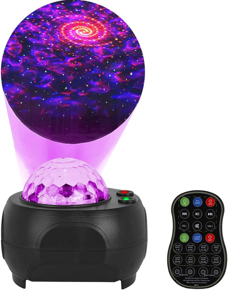 FlyonSea Galaxy Projector, Kids Star Projector Night Light with Remote Control Ocean Wave Projector & Music Player(Bluetooth), Skylight Projector for Bedroom Birthday Party Wedding Home Theatre