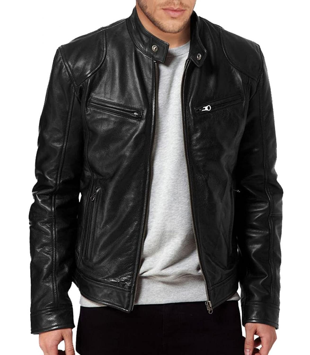 ABDys Men's Lambskin Leather jacket DKL345 Black