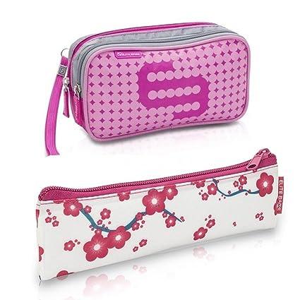 Queraltó Pack Bolsa isotérmica Dias en Color Rosa y Estuche Insulins con Flores Rosas | Elite Bags | Lote Ahorro | Kit de 2 tamaños: 1 Bolsa Grande ...