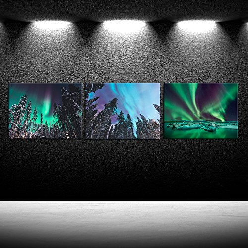 iK Canvs - 3 Piece Northern Lights Modern Canvas Print Amazing Aurora Borealis Landscape Wall Art Pictures Home Decor Living Room Office Ready To Hang -