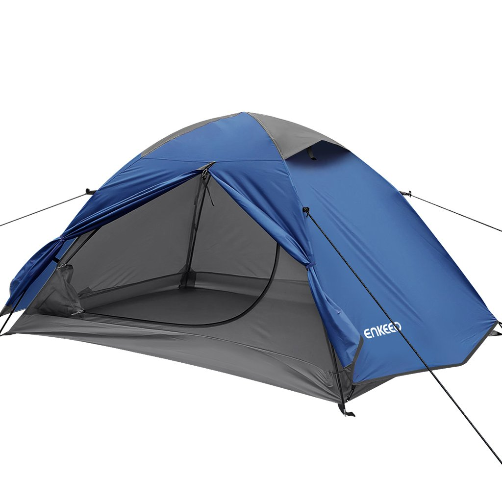 ENKEEO Camping Tent for 2 Person, Backpacking Dome Tent - Windproof Waterproof Sunproof, Perfect for 4 Season Car Bicycle Camping Music Festival, Easy Set up & Lightweight, Blue