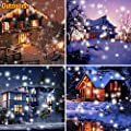 Christmas Snowfall Lights, ZZERO Rotating Waterproof Snowflake Light Projector with Wireless Remote for Holiday Outdoor Landscape Spotlight