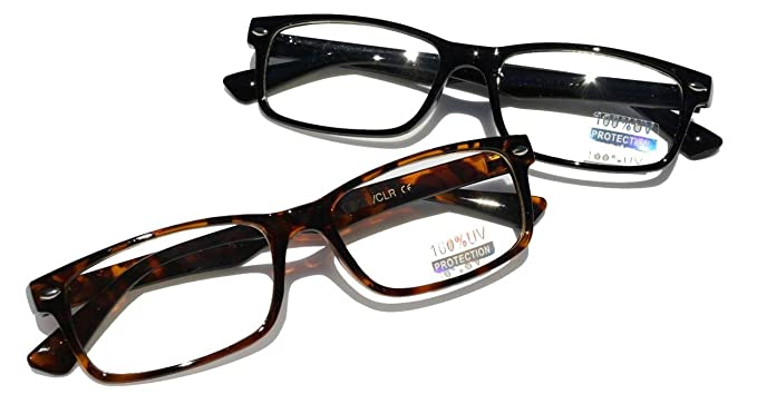 e6c3dce8e44c Casual Fashion Rectangular Reading Glasses - Stylish Simple Readers Rx  Magnification (2 Pairs (black