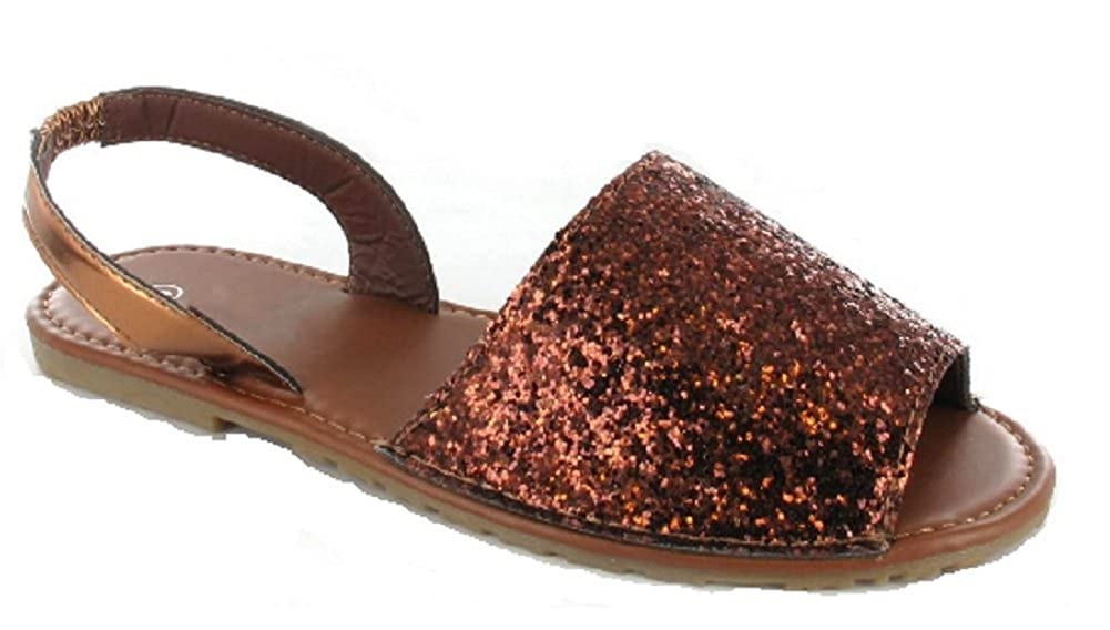 ea0a39086ada6 Ella Ladies Slingback Flat Menorcan Open Toe Spanish Sandals Rose Gold