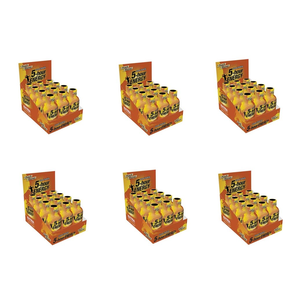 5 Hour Energy Shot Extra Strength Peach Mango- 72 Pack of 2 Ounce Bottles by 5 Hour Energy