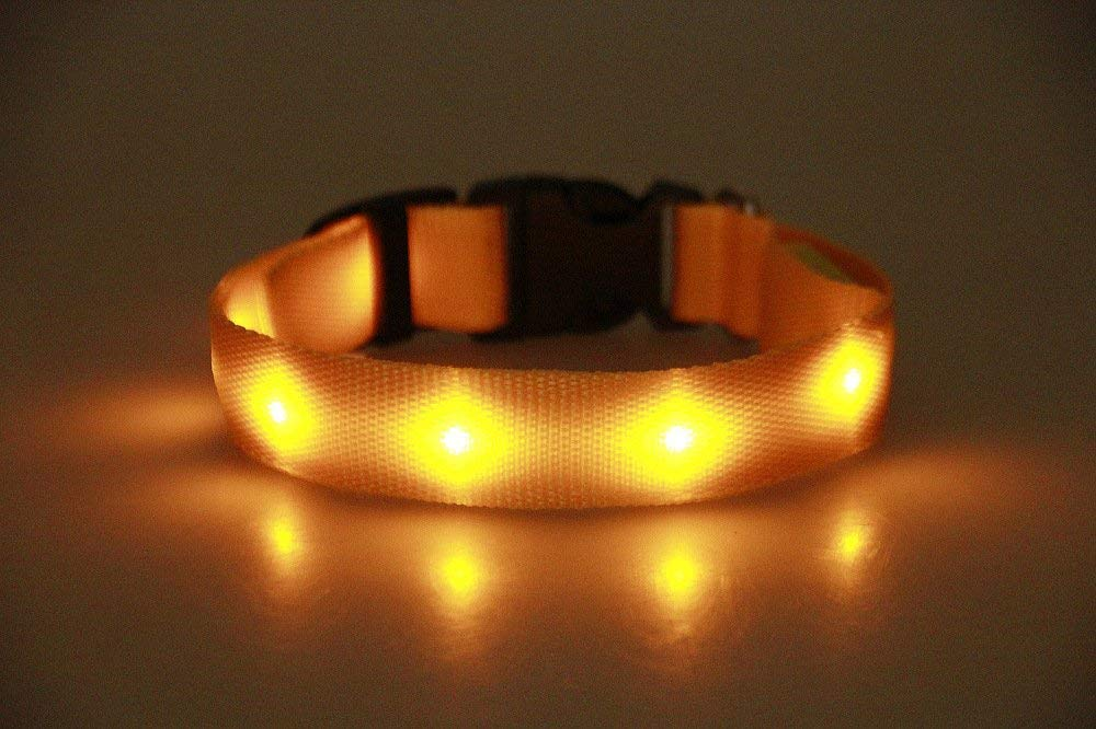 Cat Furniture for Kittens Pet Pet Collar Light Emitting USB Charging Luminous Small Large Dog Collar Dog and Cat Collar,M,Yellow Light